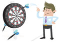 Illustration business buddy missing target his huge darts dartboard Royalty Free Stock Photography