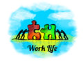 Illustration.Business concept of teamwork with jigsaw puzzle. Work Live