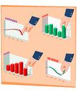 Illustration of businessman s hand manipulating graphic data Stock Photography