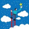 Illustration of businessman touches the stars using the stairs Royalty Free Stock Photo