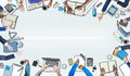 Illustration of busy business people meeting Stock Images