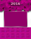 Illustration calendar for 2016 floral white pink Royalty Free Stock Photo