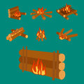 illustration of campfire logs burning bonfire and firewood stack vector