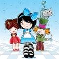 Illustration for card or party Alice in wonderland