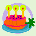 Illustration of a carrot with pink icing candles on top and looks like a cake Royalty Free Stock Images
