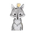 Illustration of cartoon animal. Portrait of cute little wolf cub with a butterfly sitting on his head Royalty Free Stock Photo
