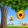 Cartoon bees with honey under a tree
