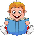 Illustration cartoon boy reading book Royalty Free Stock Photo