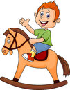 Illustration cartoon boy riding horse toy Stock Photo