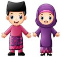 Cartoon Brunei couple wearing traditional costumes