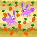 Illustration of cartoon bunnies on a carrot patch Royalty Free Stock Photography