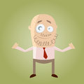 Illustration cartoon businessman curly beard bald head Stock Image