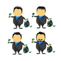 Illustration of cartoon businessman take with bag full of money in salary man concept Royalty Free Stock Photo