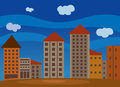 Illustration of cartoon cityscape buildings Royalty Free Stock Images