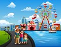 Cartoon of family vacation with amusement park background Royalty Free Stock Photo