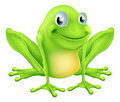 Illustration cartoon frog character sitting smiling Stock Images