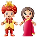 Cartoon indian couple wearing traditional costumes Royalty Free Stock Photo