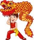 Cartoon kid performing dragon dance