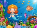Cartoon little mermaid underwater Royalty Free Stock Photo