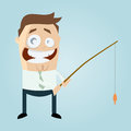 Illustration cartoon man fishing rod fish line isolated pale blue background Royalty Free Stock Photography