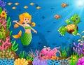 Cartoon mermaid underwater with turtle and octopus