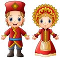 Cartoon russian couple wearing traditional costumes