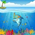 Cartoon shark under the sea Royalty Free Stock Photo