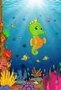 Cartoon tropical sea horse with beautiful underwater world