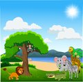 stock image of  Cartoon wild animals in the jungle
