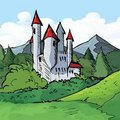 Illustration of Castle of in a forest Stock Photography