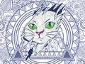 illustration of cat doodle for adult stress release coloring page