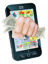 Illustration cell phone fist full dollars coming out screen Royalty Free Stock Photo