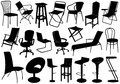 Illustration of chairs set isolated on white Stock Images
