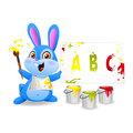 Illustration cheerful rabbit draws paper format eps Stock Photography