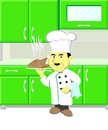 Illustration chef with roast chicken in kitchen Royalty Free Stock Image