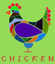 Illustration of chicken made colors isolated Royalty Free Stock Photo