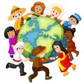 Children holding hands around the world Royalty Free Stock Photo