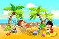 Illustration For Children: Kids Play at Sand Beach, One Sleeping in the Hammock, One Playing in Sands.