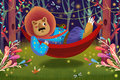 Illustration For Children: Lion King is Lying on a Hammock in Forest.