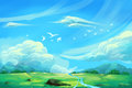 Illustration For Children: The Super Clear Blue Sky. Royalty Free Stock Photo
