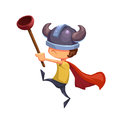 Illustration For Children: The Super Kid Hero with Toilet Plunger and Viking Hat. Royalty Free Stock Photo