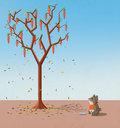 Illustration for children when will the carrots grow on the trees fall the hungry rabbits can t wait realistic fantastic cartoon Royalty Free Stock Image