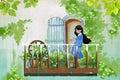 Illustration for Children: The Young Girl stays in Her Balcony Garden, Enjoy Visiting her Flower Friends.