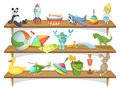 Illustration of childrens store with funny cartoon toys on shelves. Vector set