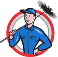 Illustration of a chimney sweeper cleaner worker with sweep broom viewed from front set inside circle done in cartoon style Royalty Free Stock Photography