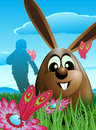 Illustration chocolate easter egg both easter bunny single image located green grass meadow flowers butterflies there child Stock Photography