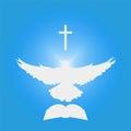 Illustration for Christian Community: Dove as Holy spirit, cross, Bible.
