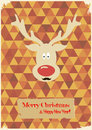 Illustration of Christmas funny deer with a mustac