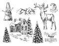 Illustration christmas landscape Royalty Free Stock Photo