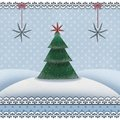 Christmas and new year card with a fir tree in a snowy landscape Royalty Free Stock Photo